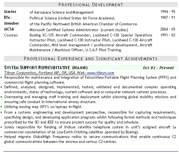 Military CV example and click to download