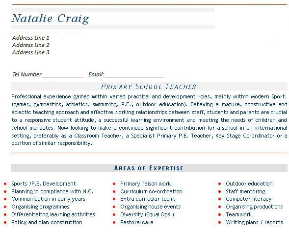 teaching cv example templates mainstream education