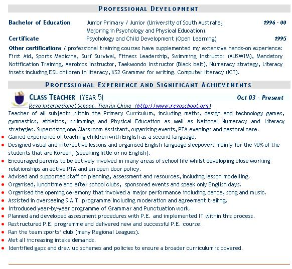 Teaching cv example templates mainstream education teaching cv examples yelopaper Image collections