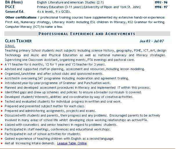 Teaching CV example, teacher CV. Curriculum Vitae service.